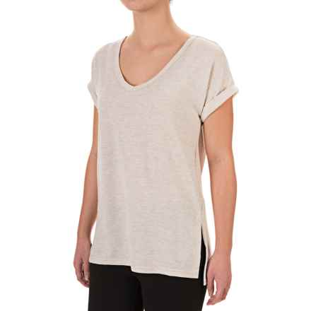 Harmony and Balance Brushed V-Neck Shirt - Short Sleeve (For Women) in Oatmeal Heather - Closeouts