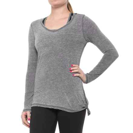 Harmony and Balance Burnwash Jersey Tie-Side T-Shirt - Long Sleeve (For Women) in Black - Closeouts