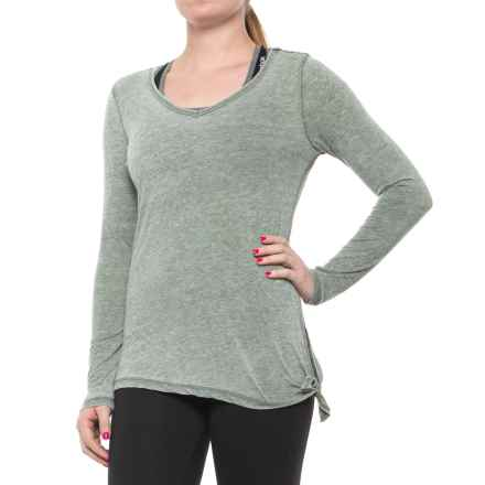 Harmony and Balance Burnwash Jersey Tie-Side T-Shirt - Long Sleeve (For Women) in Sage - Closeouts