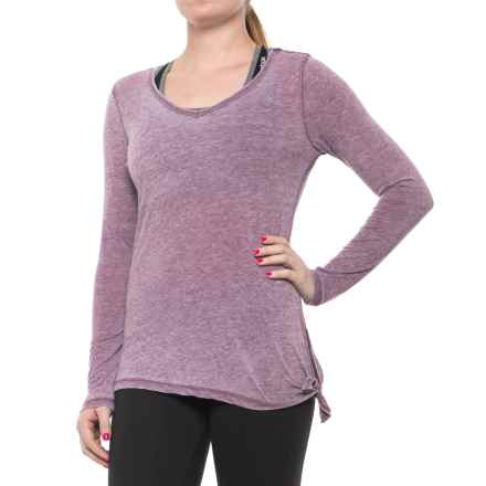 Harmony and Balance Burnwash Jersey Tie-Side T-Shirt - Long Sleeve (For Women) in Vintage Grape - Closeouts