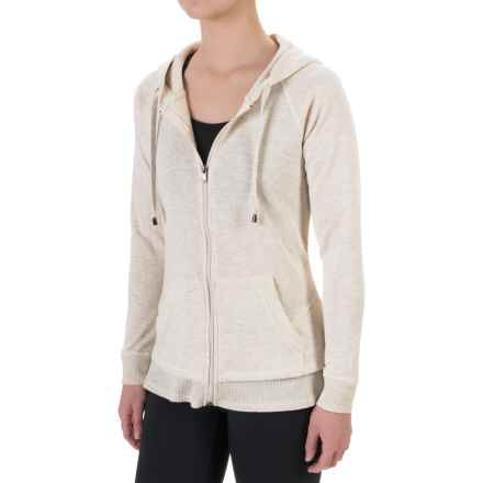 Harmony and Balance French Terry Hoodie - Zip Front (For Women) in Ivory Combo - Closeouts