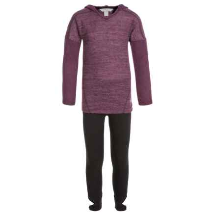 Harmony and Balance Hacci Brushed Hoodie and Leggings Set (For Big Girls) in Beet/Black - Closeouts