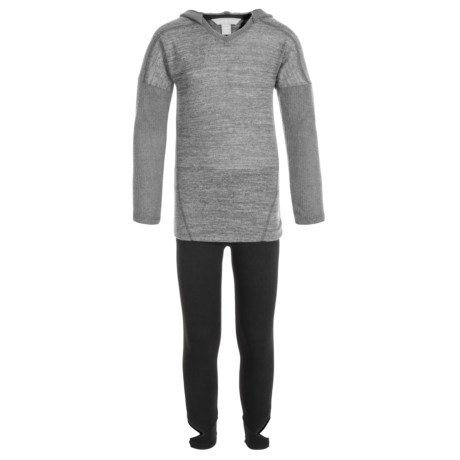 Harmony and Balance Hacci Brushed Hoodie and Leggings Set (For Big Girls) in Grey Heather/Black