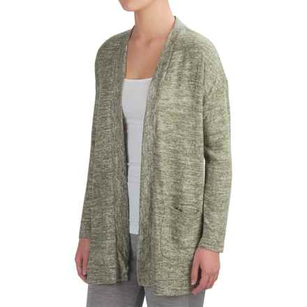 Harmony and Balance Hacci Tulip Back Cardigan Sweater - Open Front (For Women) in Olive Combo - Closeouts