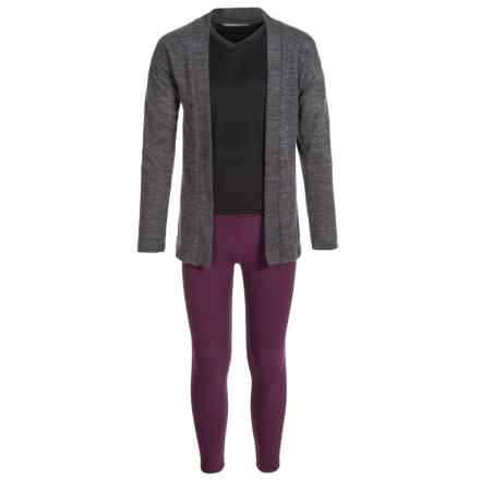 Harmony and Balance Hacci Tulip Hem Cardigan Shirt and Leggings Set - Long Sleeve (For Big Girls) in Charcoal Heather/Beet - Closeouts