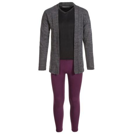 Harmony and Balance Hacci Tulip Hem Cardigan Shirt and Leggings Set - Long Sleeve (For Big Girls) in Charcoal Heather/Beet