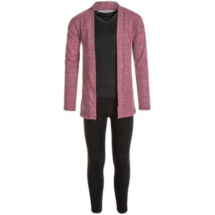 Harmony and Balance Hacci Tulip Hem Cardigan Shirt and Leggings Set - Long Sleeve (For Big Girls) in Dusty Rose/Black - Closeouts