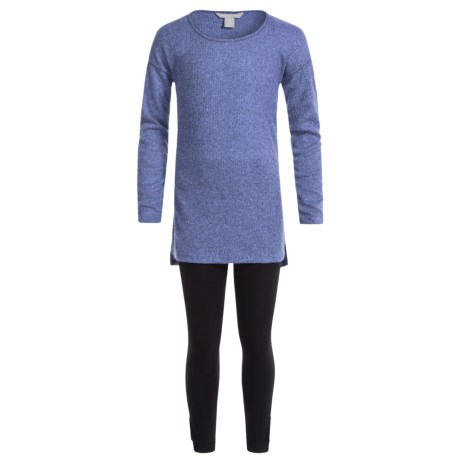 Harmony and Balance Hacci Tunic Shirt and Leggings Set - Long Sleeve (For Big Girls) in Blue Wave/Black