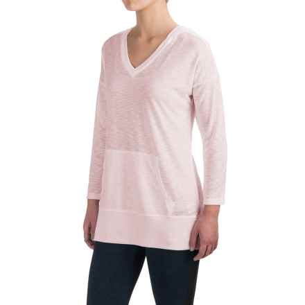 Harmony and Balance Hooded Tunic Shirt - Ribbed Trim, Long Sleeve (For Women) in Pale Pink - Closeouts