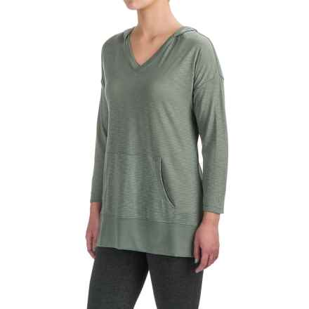 Harmony and Balance Hooded Tunic Shirt - Ribbed Trim, Long Sleeve (For Women) in Thyme - Closeouts