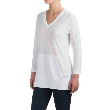 Harmony and Balance Hooded Tunic Shirt - Ribbed Trim, Long Sleeve (For Women) in White - Closeouts
