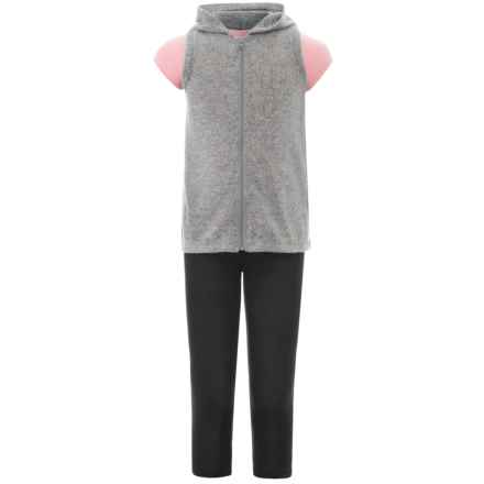 Harmony and Balance Hoodie Vest, T-Shirt and Leggings Set - 3-Piece, Short Sleeve (For Big Girls) in Gray Heather/Cotton Candy - Closeouts