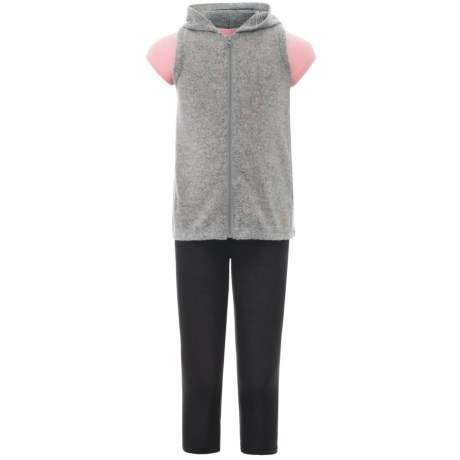 Harmony and Balance Hoodie Vest, T-Shirt and Leggings Set - 3-Piece, Short Sleeve (For Big Girls) in Gray Heather/Cotton Candy