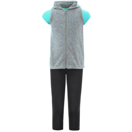 Harmony and Balance Hoodie Vest, T-Shirt and Leggings Set - 3-Piece, Short Sleeve (For Big Girls) in Gray Heather/Teal Pop