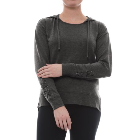 Harmony and Balance Missy Hoodie Shirt - Long Sleeve (For Women) in Charcoal