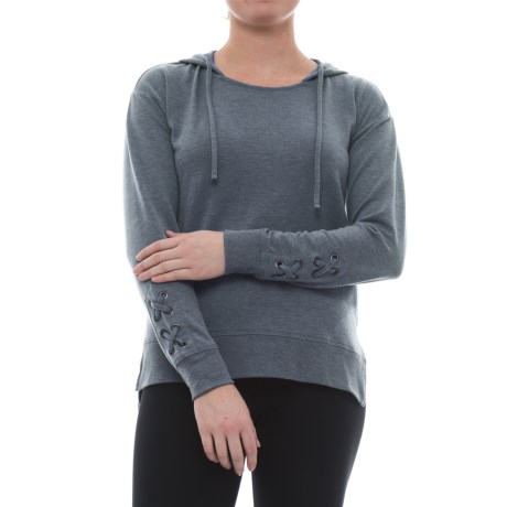 Harmony and Balance Missy Hoodie Shirt - Long Sleeve (For Women) in Slate Blue