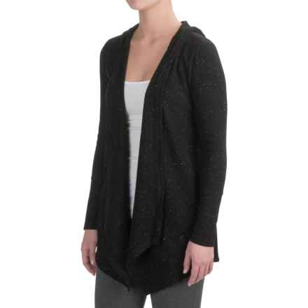 Harmony and Balance Waffle-Knit Fly Away Cardigan Shirt - Hooded, Long Sleeve (For Women) in Black Combo - Closeouts