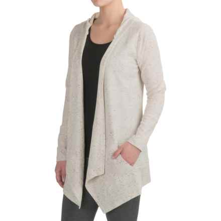 Harmony and Balance Waffle-Knit Fly Away Cardigan Shirt - Hooded, Long Sleeve (For Women) in Ivory Combo - Closeouts