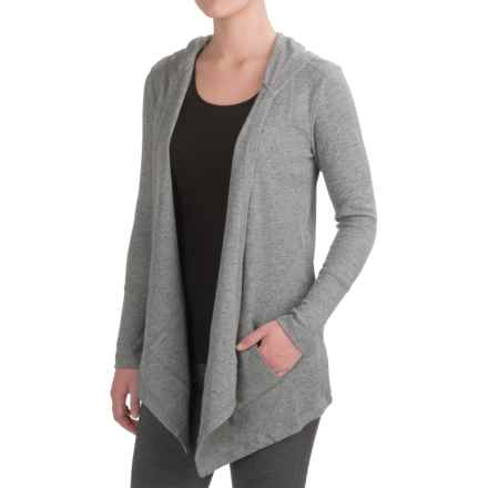 Harmony and Balance Waffle-Knit Fly Away Cardigan Shirt - Hooded, Long Sleeve (For Women) in Light Grey Comb - Closeouts