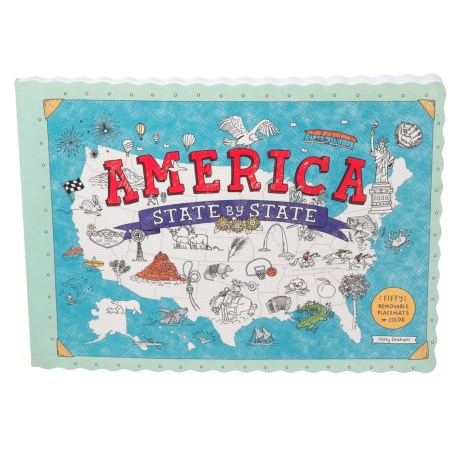 Harper Collins America State by State: Fifty Removable Placemats to Color, Paperback Book in See Photo