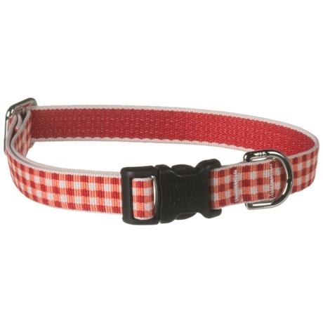 Harry Barker Gingham Dog Collar in Red