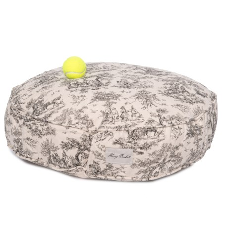 """Harry Barker Toile Round Dog Bed - 25"""" in Black"""