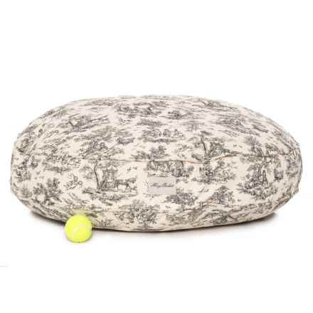"Harry Barker Toile Round Dog Bed - 35"" in Black - Closeouts"