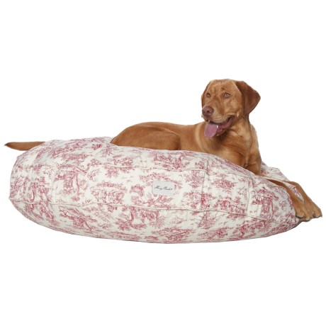 "Harry Barker Toile Round Dog Bed - 45"" in Red"