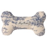 "Harry Barker Toile Stuffed Canvas Bone Dog Toy - 7"", Squeaker"