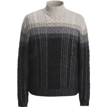 Hart, Schaffner & Marx Plaited Cable Sweater (For Men) in Charcoal