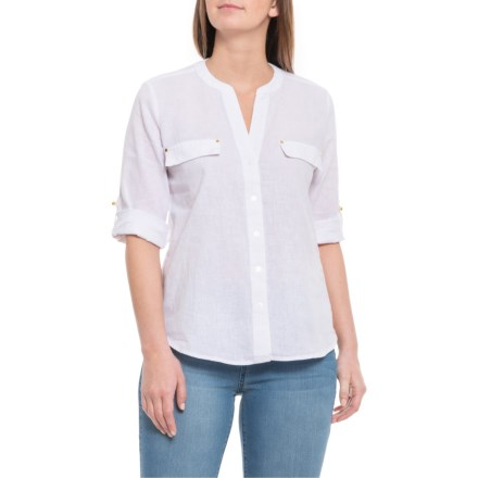 12243852 Harve Benard Bright White Open-Weave Shirt - Elbow Sleeve (For Women) in