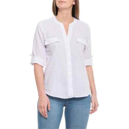 8a06a25e274 Harve Benard Bright White Open-Weave Shirt - Elbow Sleeve (For Women) in