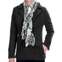 Harve Benard Peacoat with Scarf (For Women) in Black - Closeouts