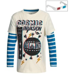 Hatley 3D T-Shirt - Long Sleeve (For Boys) in Cosmic Invasion