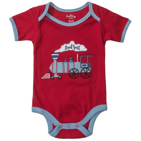 Hatley Applique Baby Bodysuit - Short Sleeve (For Infants) in Toot Toot