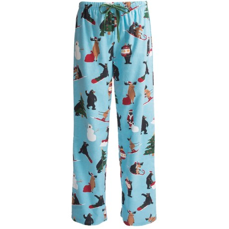 Hatley Brushed Flannel Pajama Pants - Cotton (For Women) in Snow Much To Do