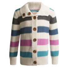 Hatley Button-Up Sweater (For Girls) in Stripes - Closeouts