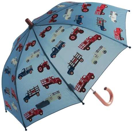 Hatley Child-Safe Umbrella - Wood Handle and Tip in Farm Trucks