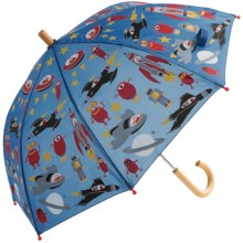 Hatley Child-Safe Umbrella - Wood Handle and Tip in Space Ships - Closeouts