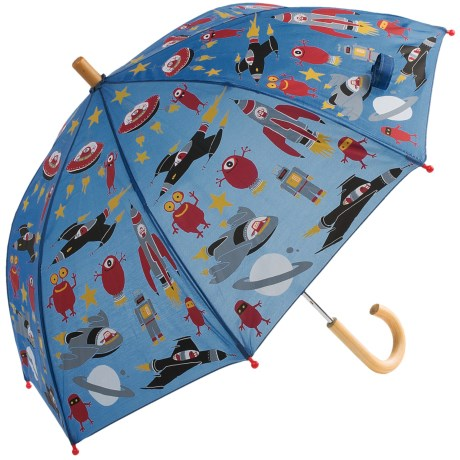 Hatley Child-Safe Umbrella - Wood Handle and Tip in Space Ships