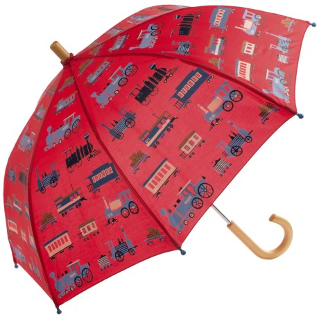 Hatley Child-Safe Umbrella - Wood Handle and Tip in Trains