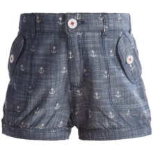 Hatley Cotton Bloomer Shorts (For Little Girls) in Chambray Anchors - Closeouts