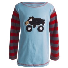 Hatley Cotton Graphic T-Shirt - Long Sleeve (Boys) in Monster Truck Keep On Truckin - Closeouts