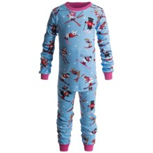 Hatley Cotton Pajamas - Long Sleeve (For Kids) in Skiing Dog Girls - Closeouts