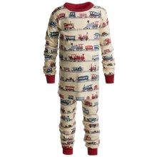 Hatley Cotton Pajamas - Long Sleeve (For Kids) in Trains - Closeouts
