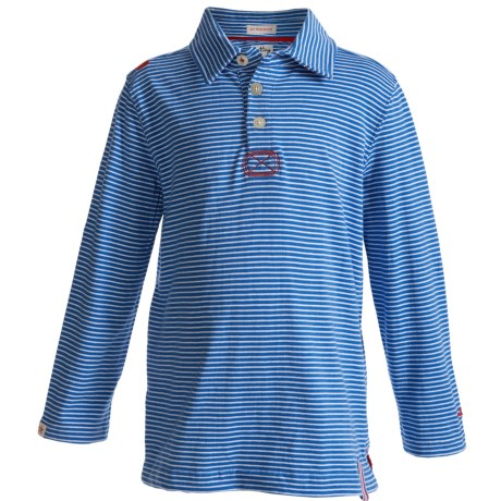 Hatley Cotton Polo Shirt - Long Sleeve (For Boys) in Blue Stripes