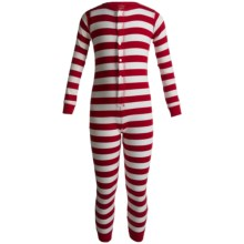 Hatley Cotton Union Suit Pajamas - Long Sleeve (For Kids) in Candy Cane Stripes - Closeouts