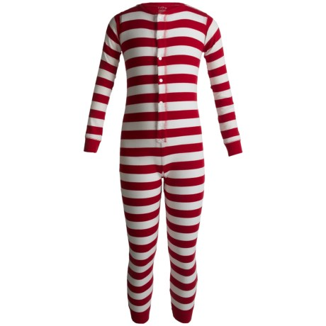 Hatley Cotton Union Suit Pajamas - Long Sleeve (For Kids) in Candy Cane Stripes