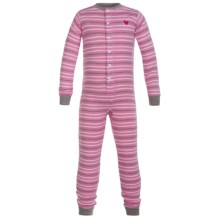 Hatley Cotton Union Suit Pajamas - Long Sleeve (For Toddlers) in Heart Stripes - Closeouts