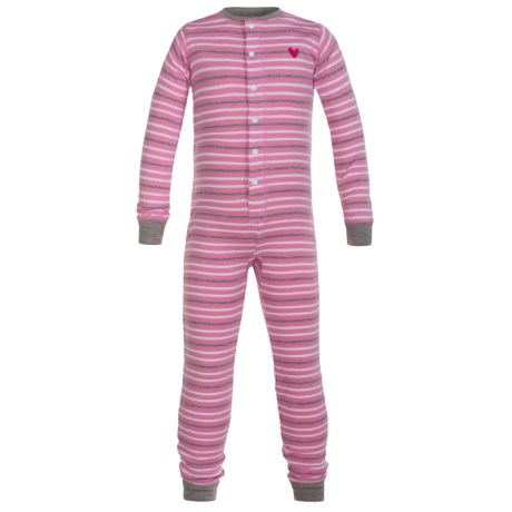 Hatley Cotton Union Suit Pajamas - Long Sleeve (For Toddlers) in Heart Stripes